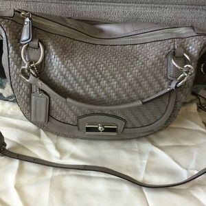 Excellent Coach Kristin Woven Pewter Satchel Bag